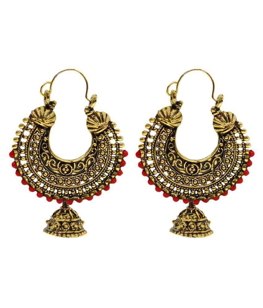 Deeksha Traders Golden Chandeliers Earrings