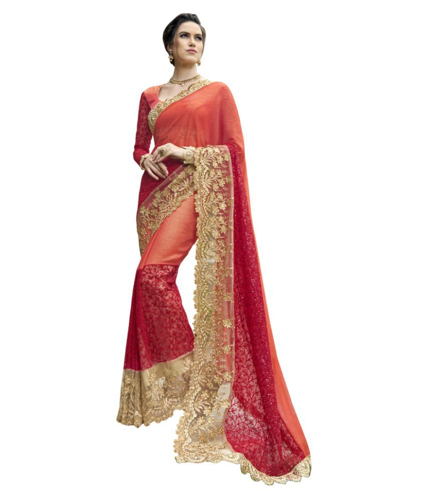 b4e9bbd0e98 Triveni Sarees Red and Beige Georgette Saree - Buy Triveni Sarees Red and  Beige Georgette Saree Online at Low Price - Snapdeal.com