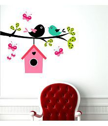 TMS Love Bird With Butterfly Vinyl Multicolour Wall Sticker - Pack Of 1