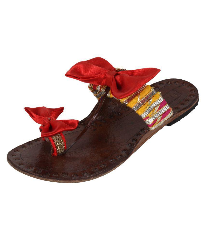 N-Gal Multi Color Flat Ethnic Footwear