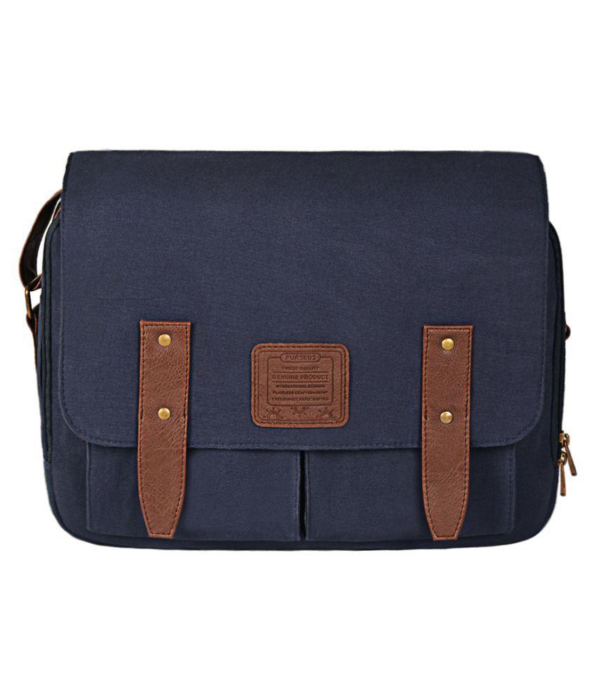 Purseus Blue Canvas Casual Messenger Bag