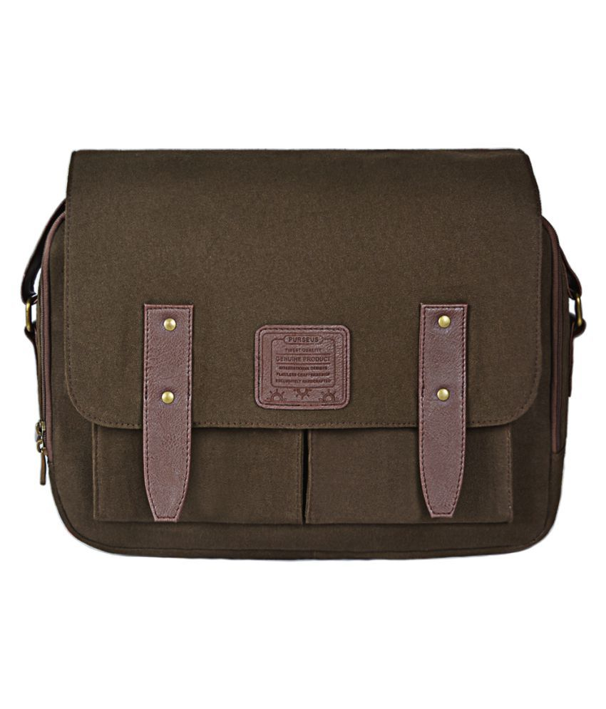 Purseus Messenger Bag Brown Canvas Casual Messenger Bag