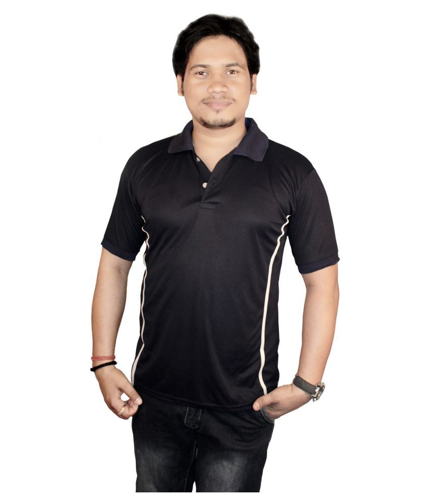 Delux Look Black Cotton Nylon Polo T-Shirt