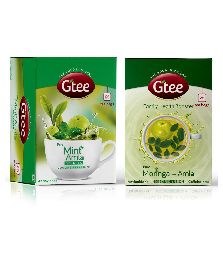 GTEE Moringa tea and Mint Leaves with Green Tea Bags 50 no.s Pack of 2