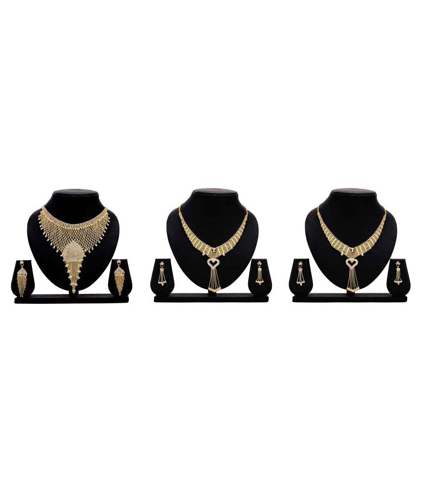 Bahucharaji Creation Presents Golden Alloy Set Of 3 Necklace Set