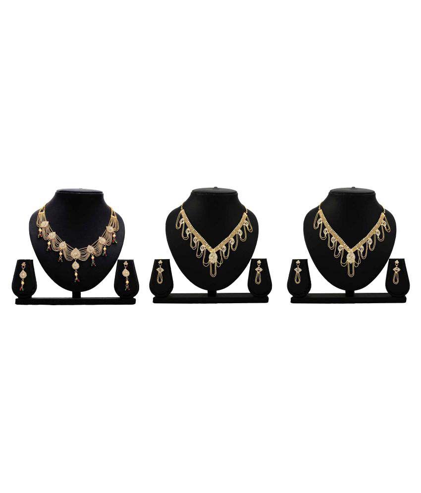 Bahucharaji Creation Presents Golden Color Alloy Set Of 3 Necklace Set
