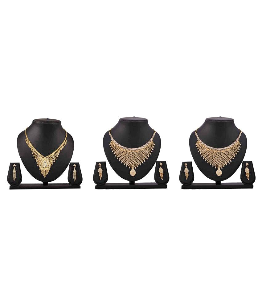 Bahucharaji Creation Presents Golden Color Alloy Necklace Set Of 3 Combo