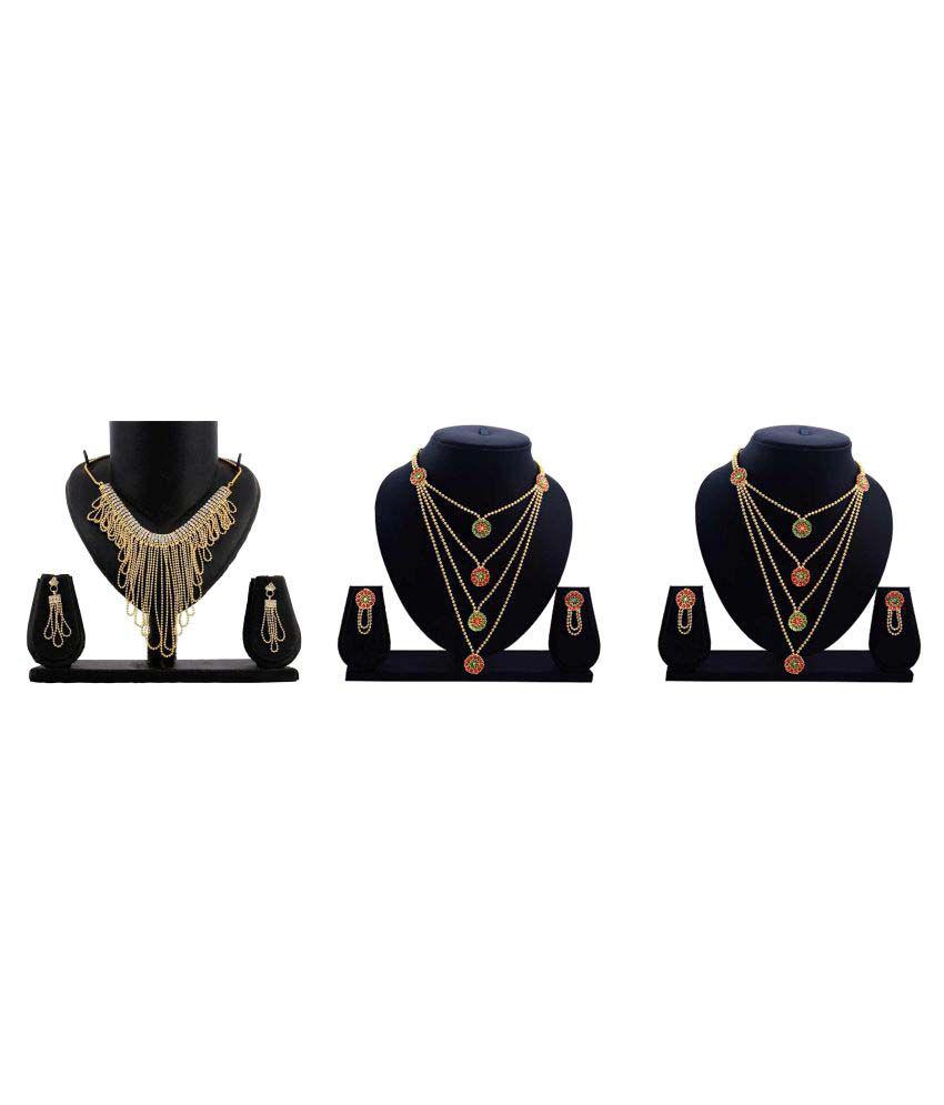 Dealseven Fashion Golden Alloy Necklace Set - Set of 3