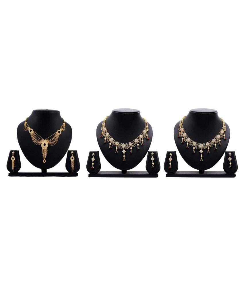 Dealseven Fashion Golden Alloy Set of 3 Necklace Set Combo