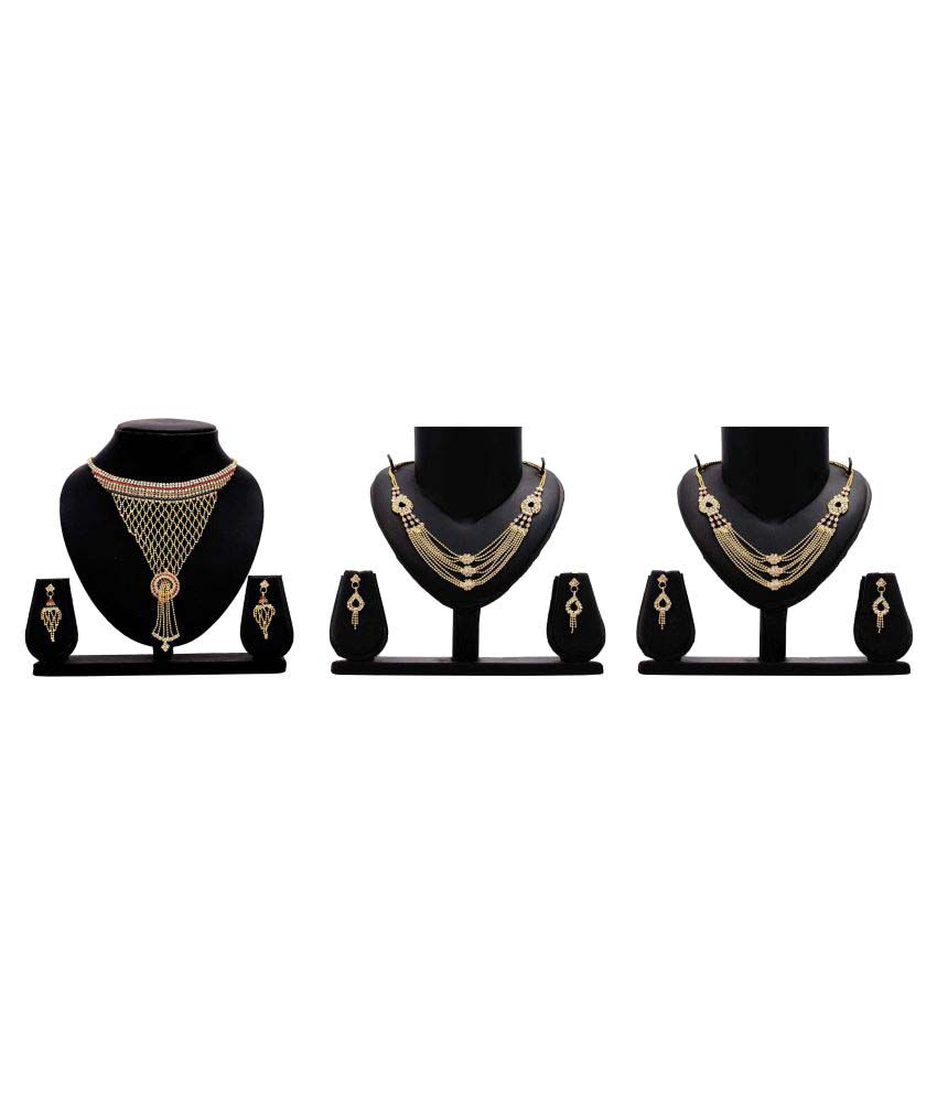 Dealseven Fashion Golden Color Alloy Combo of 3 Necklace Sets