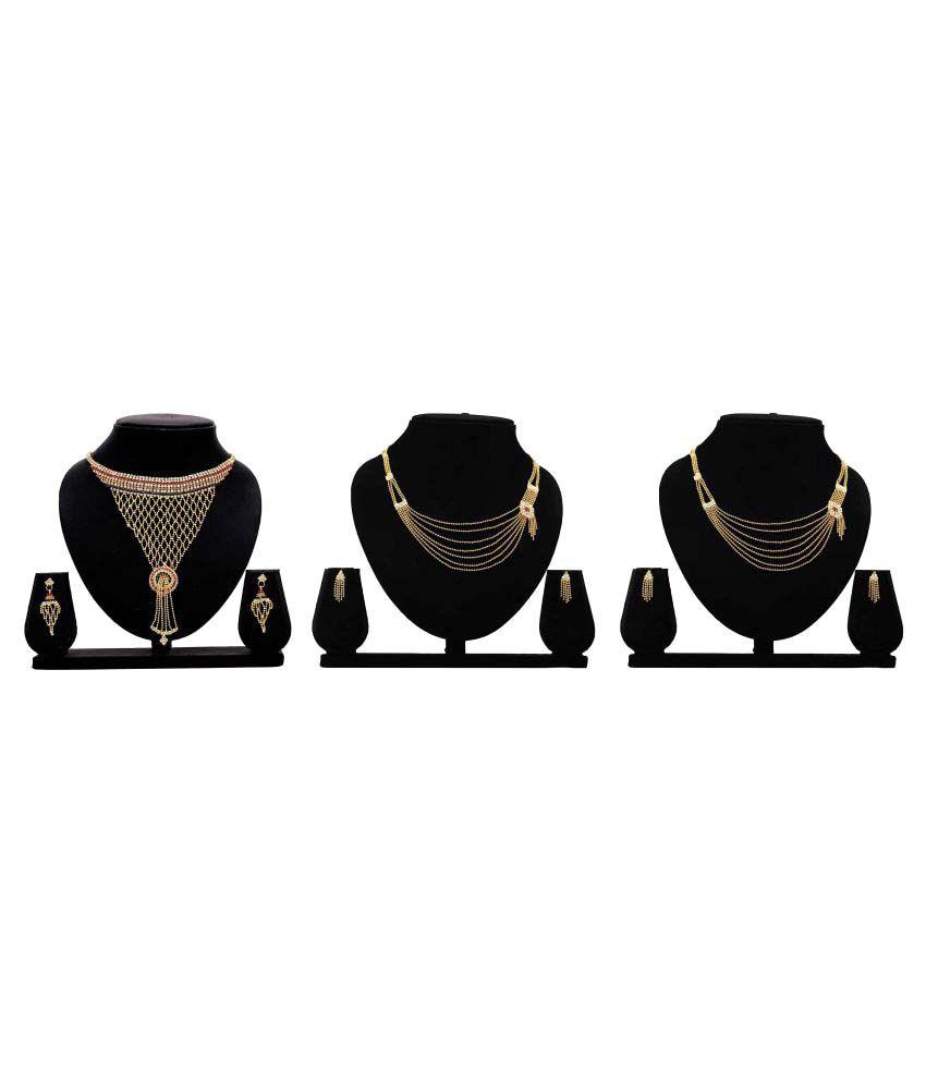 Dealseven Fashion Presents Golden Alloy Set of 3 Necklace Set.