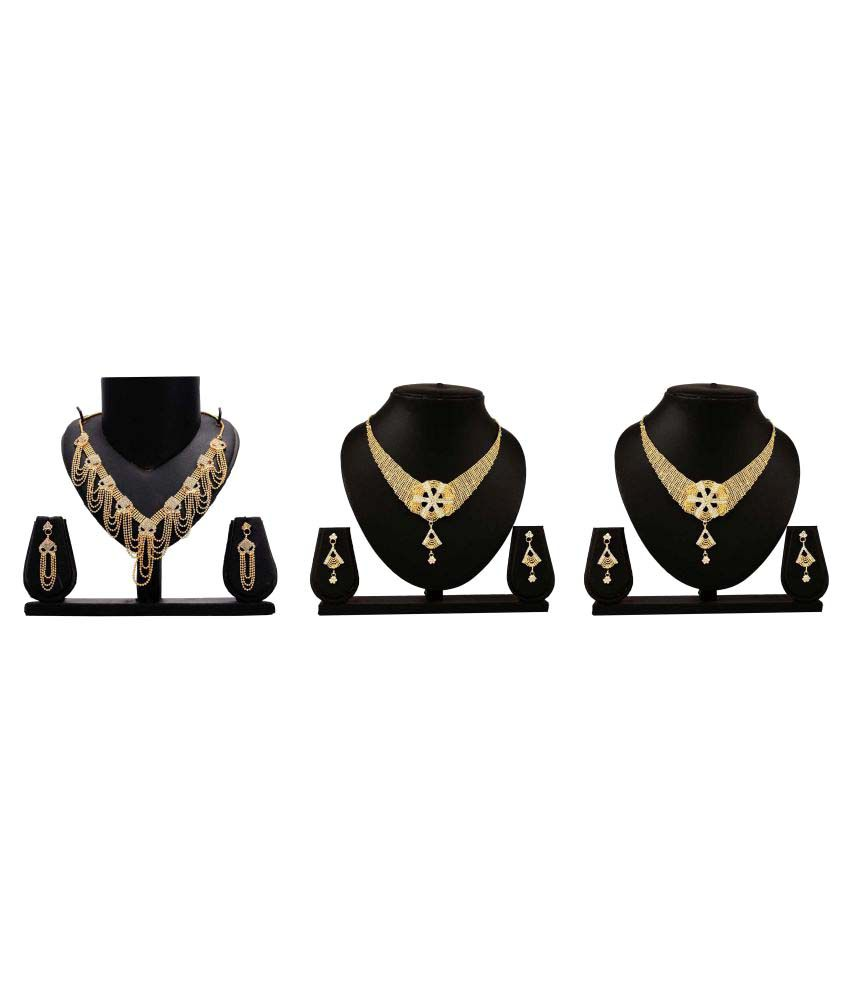 Gopalvilla Golden Alloy Necklace Set Combo - Set of 3