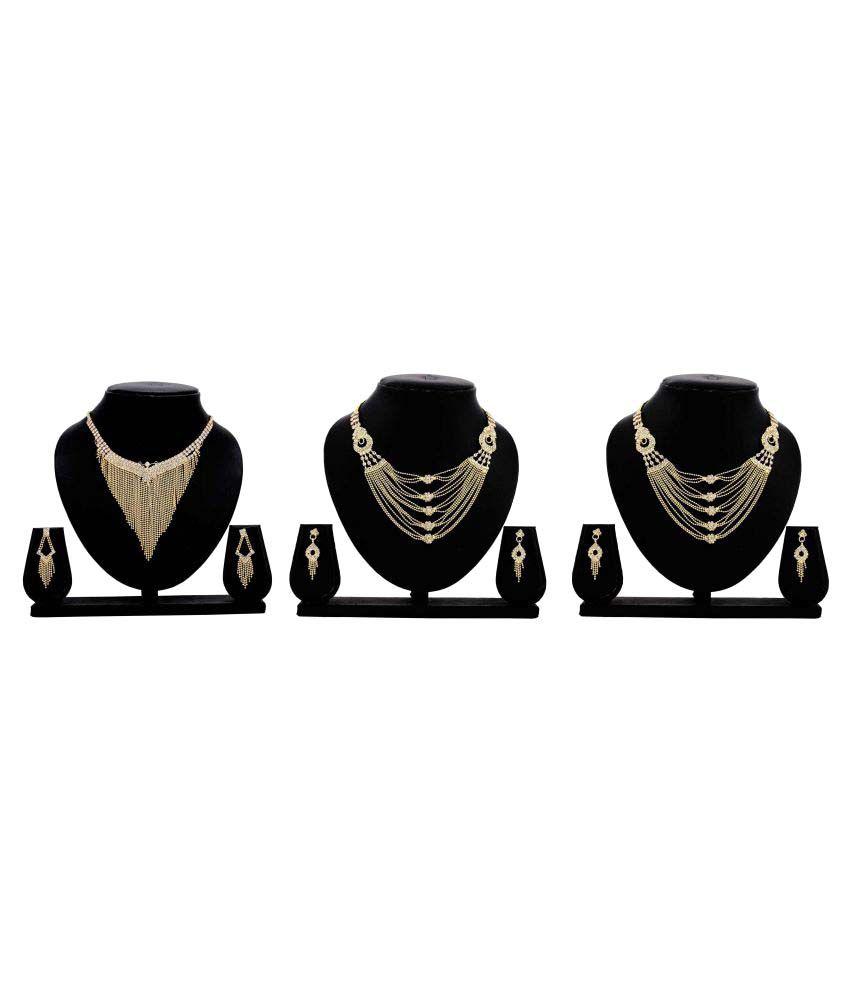 Gopalvilla Presents Set of 3 Golden Alloy Necklace Set.