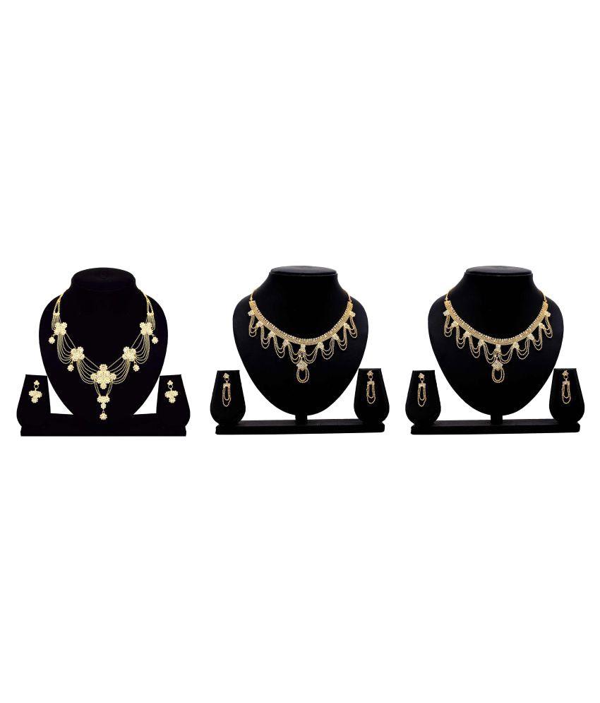 Dealseven Fashion Golden Alloy Necklace Set Combo (Set of 3)