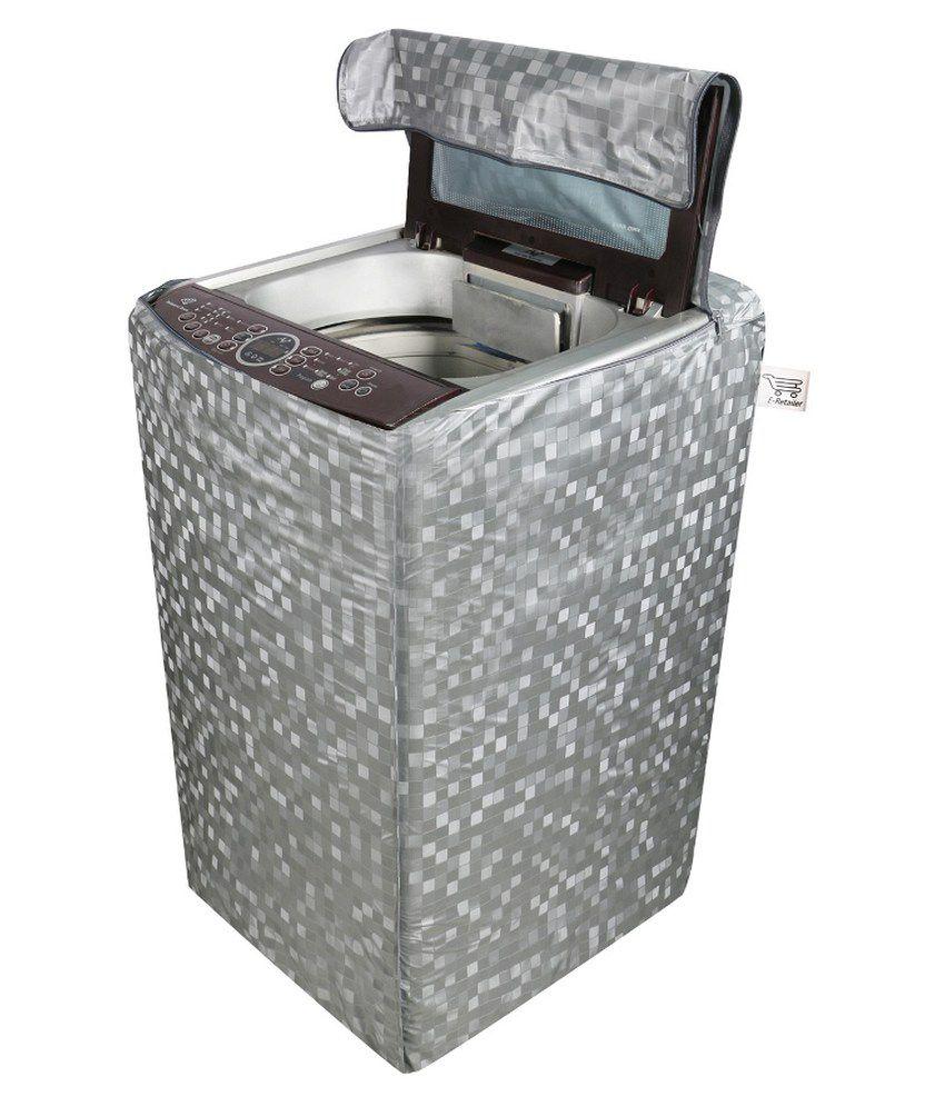 E Retailer Silver Square Design Top Load Washing Machine Cover