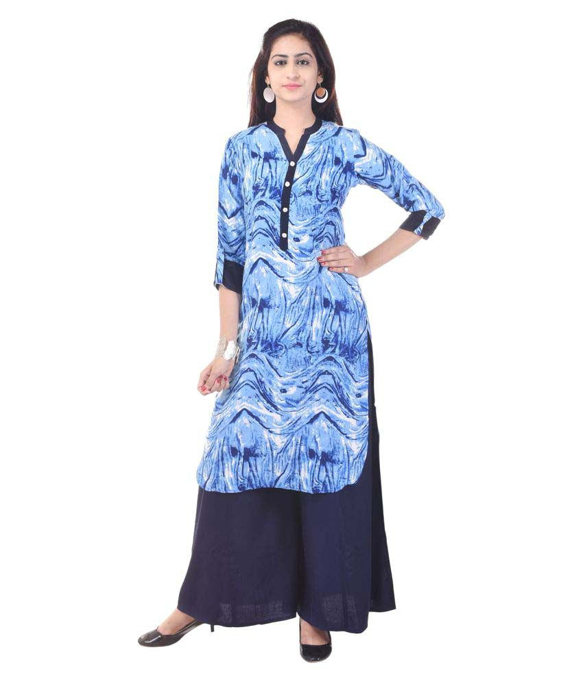 Priya Collection Blue Cotton High Low Hemline Stitched Suit