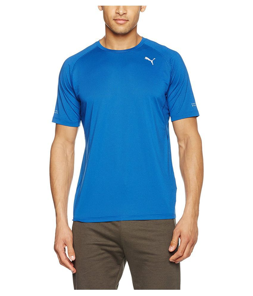 Puma Fake Blue 100% Polyster Round Neck T-Shirt for Men