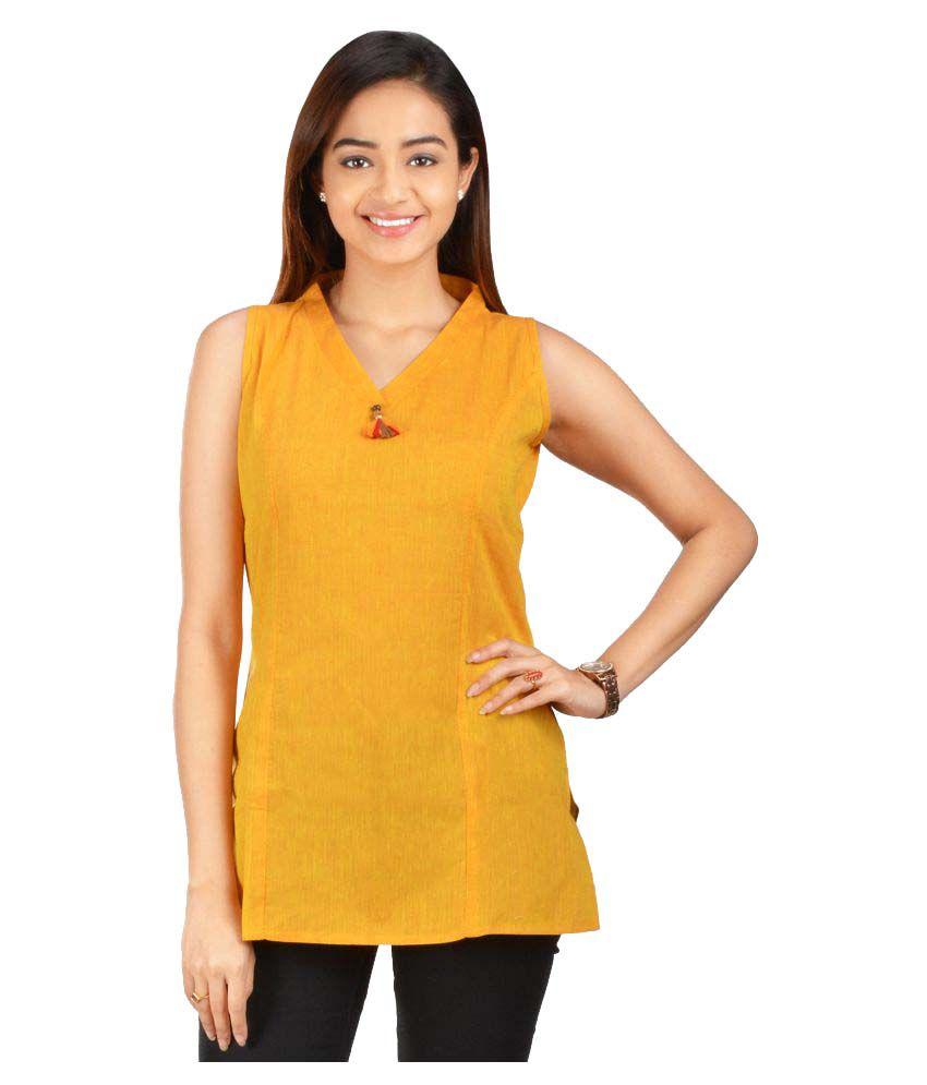 Rene Yellow Cotton Straight Kurti