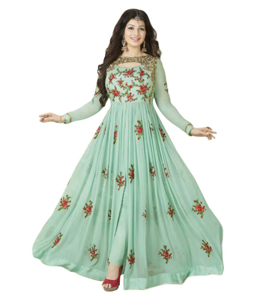 693363f086 ... Georgette Anarkali Semi-Stitched Suit - Buy YOYO FASHION Green and Grey  Georgette Anarkali Semi-Stitched Suit Online at Best Prices in India on  Snapdeal