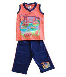 Elk Little Master Boys Orange Sleeveless Printed 100% Cotton Top And Bottem Set