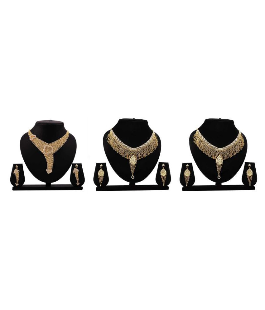 Bahucharaji Creation Presents Golden Color  Alloy Set Of 3 Necklack Set.