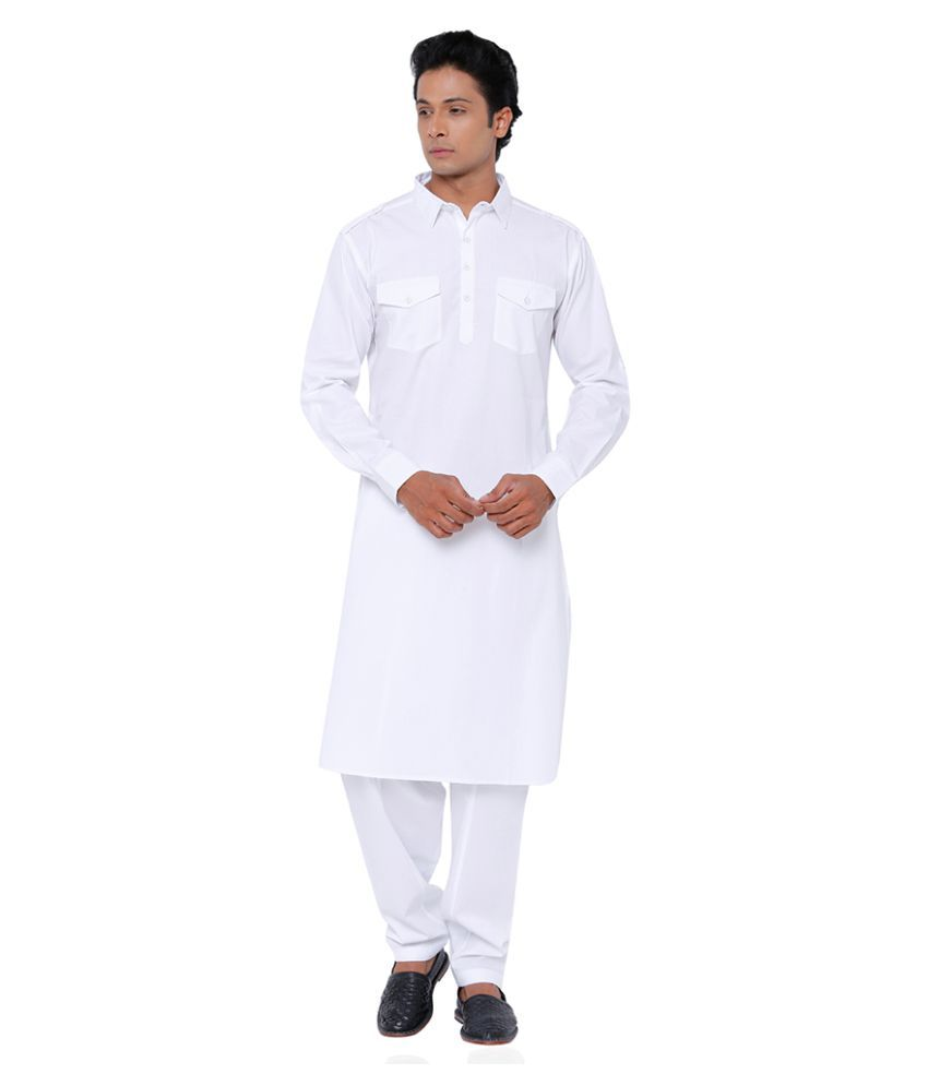 Svanik White Cotton Pathani Suit