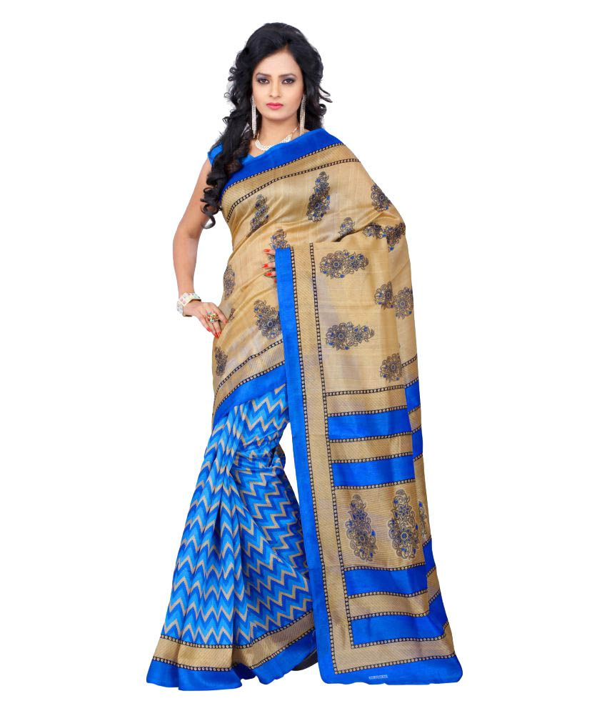 3Buddy Fashion Blue Bhagalpuri Silk Saree