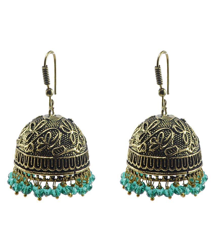 Silvesot India Beautifully Expressive 28.2 Grams Handmade Alloy Oxidized Jhumka Earrings With Tiny Lemon Crystals PG-104475