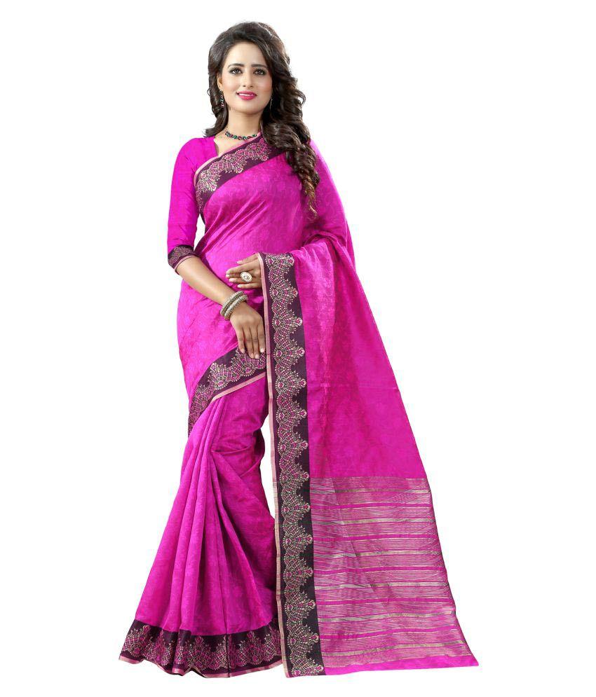 Mada Pink Cotton Silk Saree