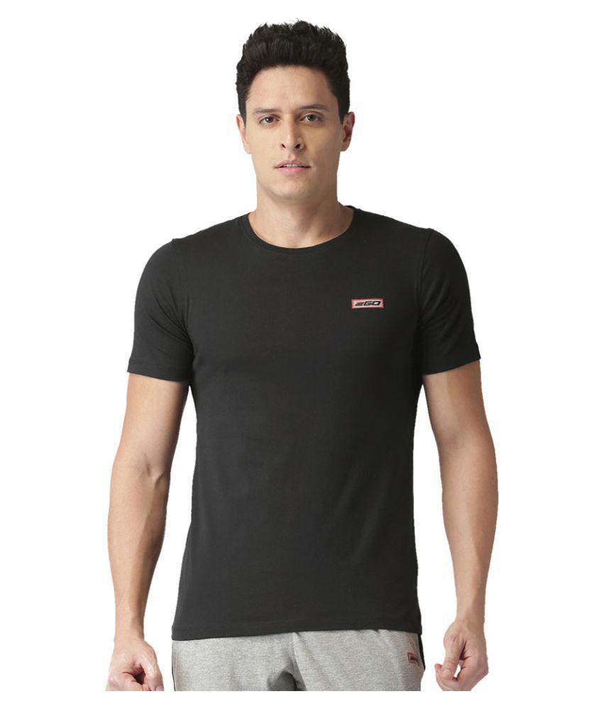 2GO Bold Black Half sleeves Round Neck T-shirt