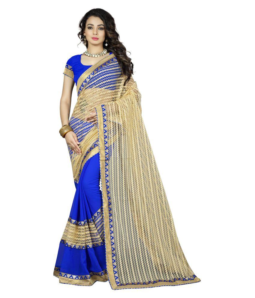 Aai Shree Khodiyar Art Blue and Beige Georgette Saree