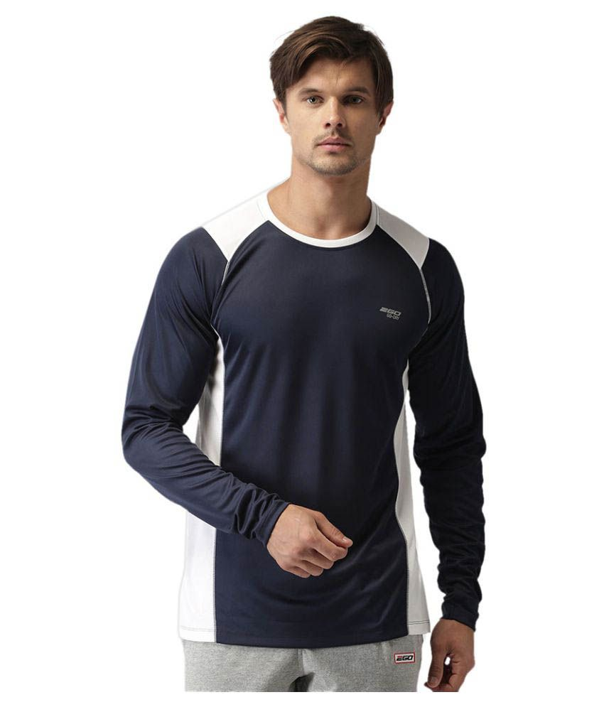 2GO Dare Navy GO Dry Round neck Full sleeves  Performance T-Shirt