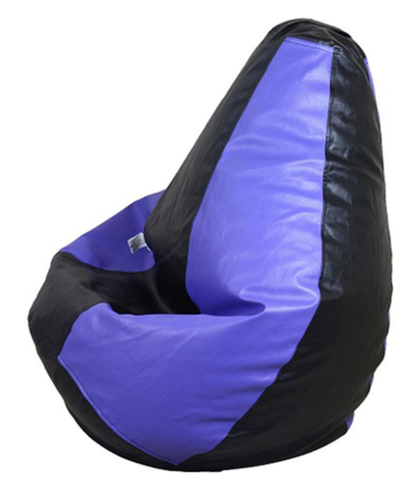 Sultaan Rexine Leather Black Amp Purple Bean Bag Cover With