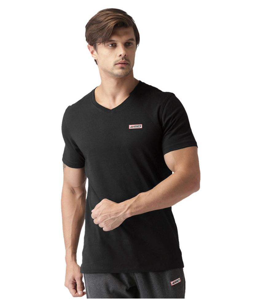2GO Bold Black Half sleeves V-Neck T-shirt