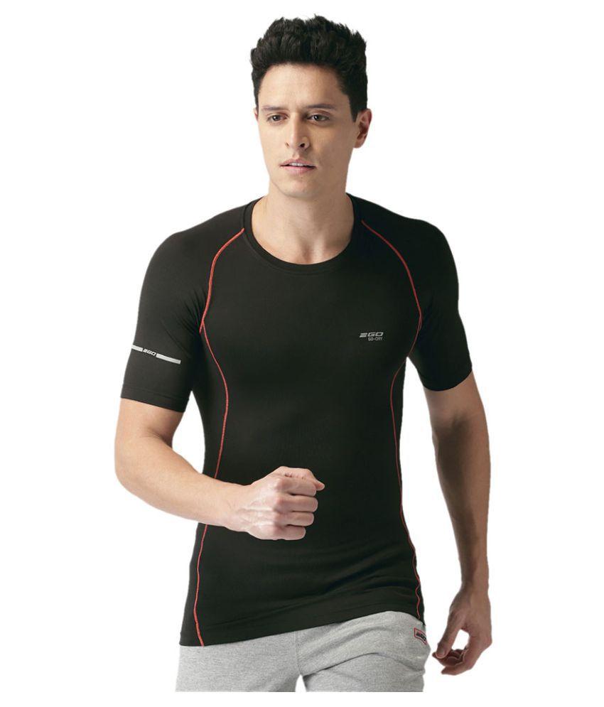 2GO Bold Black Performance Half sleeves T-shirt