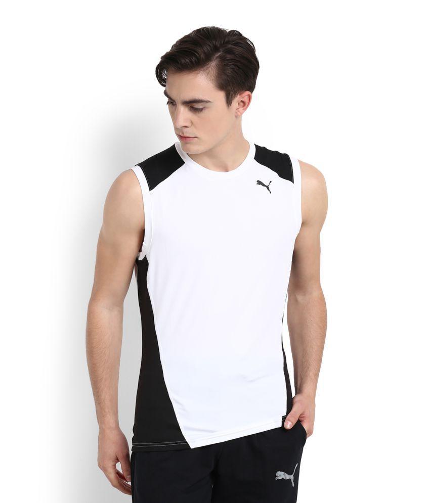 Puma White Polyester Viscose T-Shirt