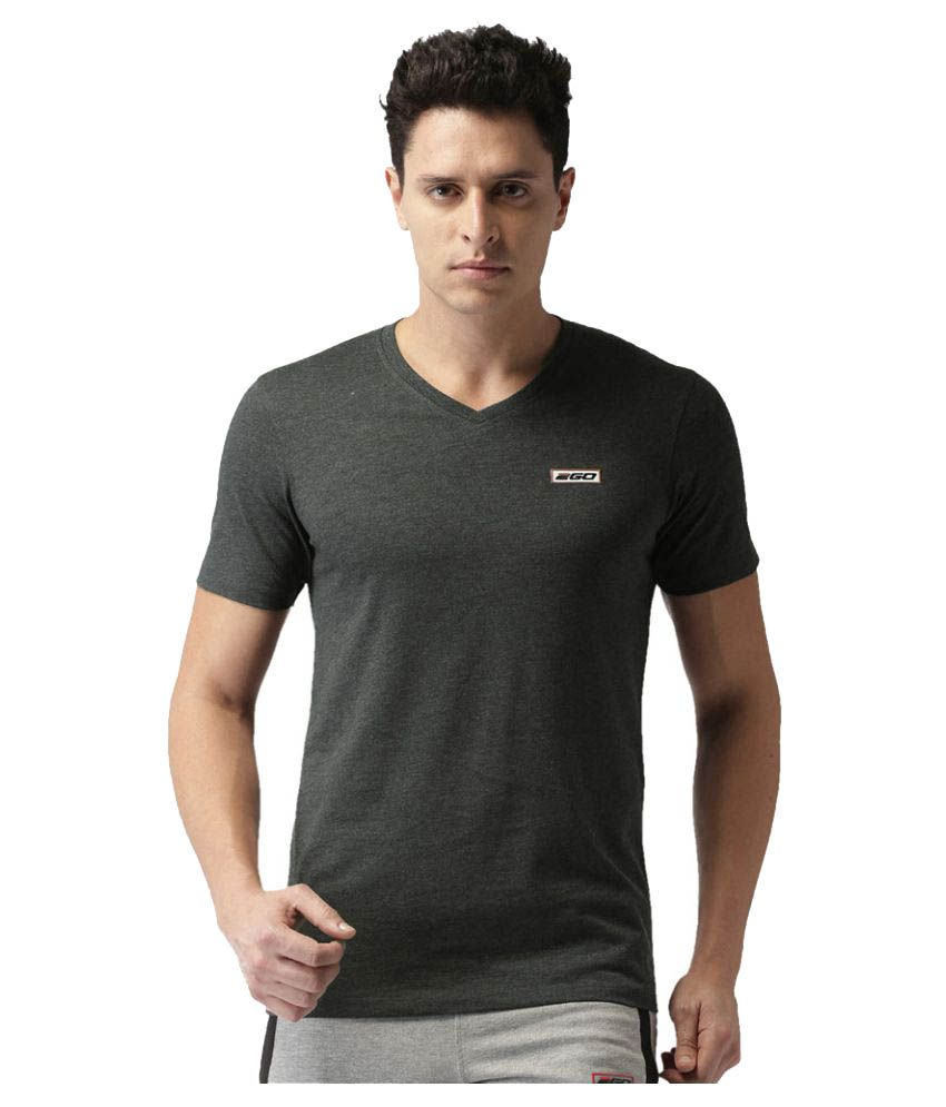 2GO Charcoal Mel Half sleeves V-Neck T-shirt