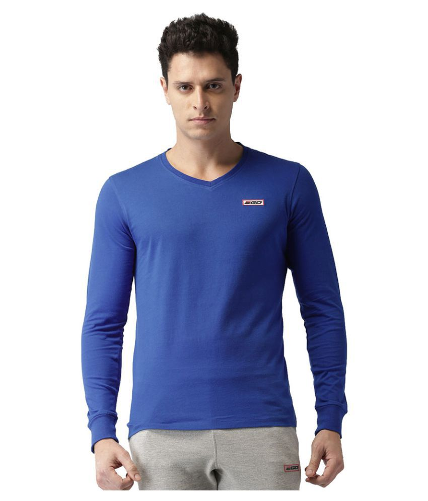 2GO Electric Blue Full sleeves V-Neck T-shirt