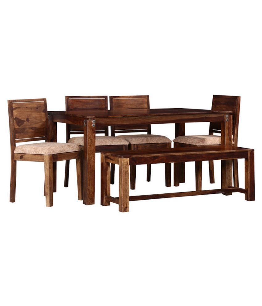 Amaani Furniture Modern Sheesham Wood 4 Seater With Cushion Dining Table With Bench Honey Brown