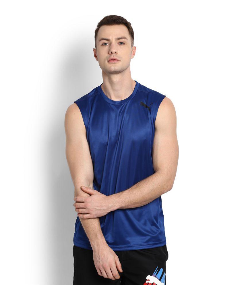 Puma Blue Polyester T-Shirt