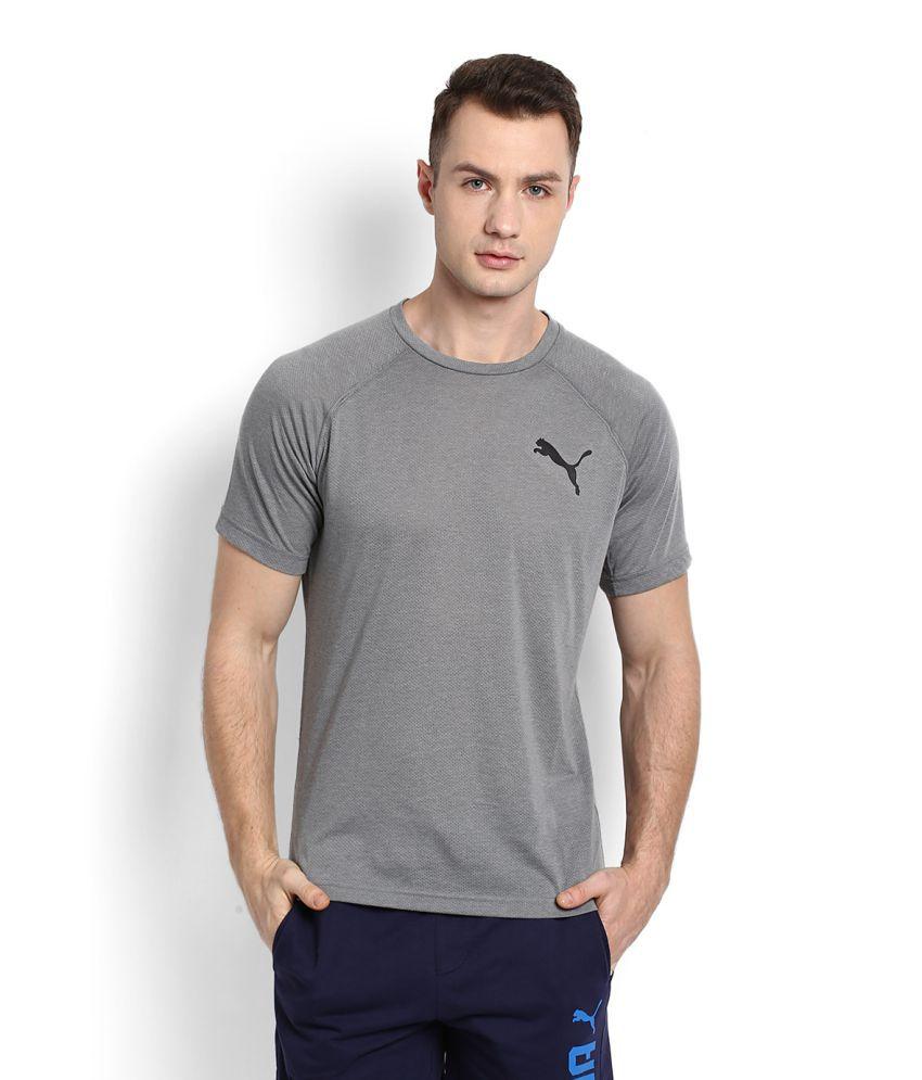 Puma Grey Cotton Blend T-Shirt