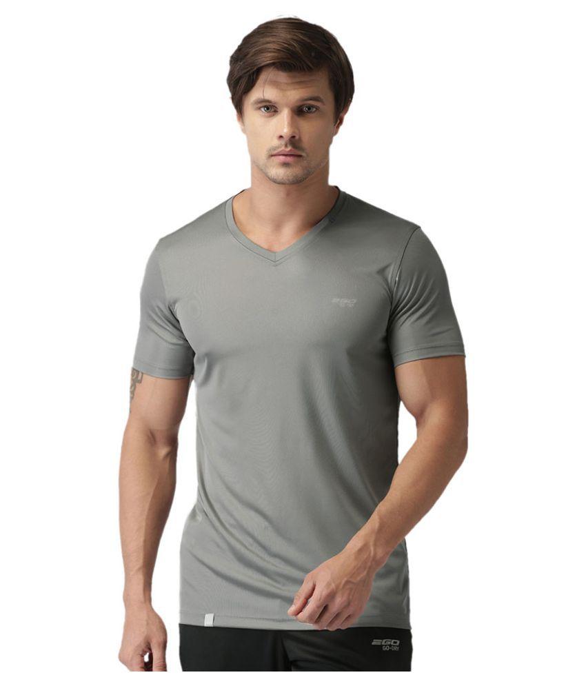 2GO Sweaty Grey GO Dry V-neck half sleeves T-shirt