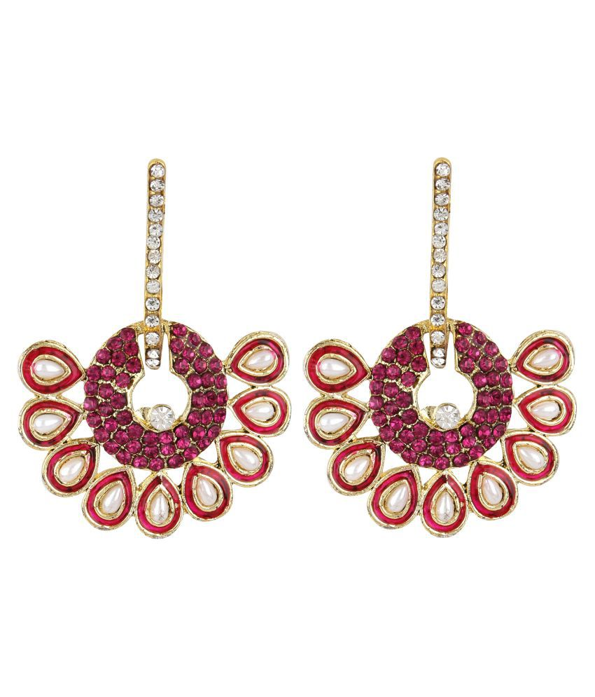 Jewels Gold Alloy  Party Wear For Wedding Traditional Stone Latest Fancy Simple Earring Set For Women & Girls