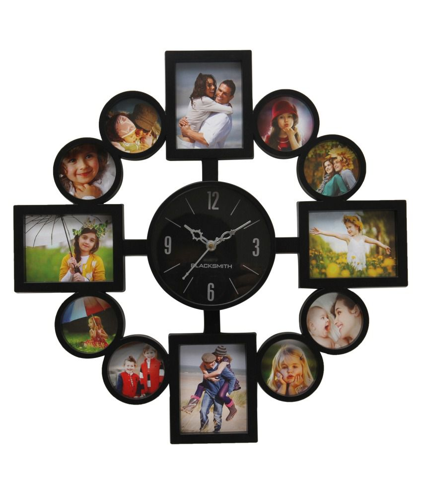 Blacksmith Black Plastic Wall Clock With Photo Frame Buy Blacksmith