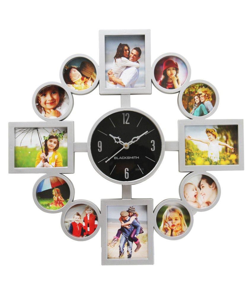 Blacksmith Grey Plastic Wall Clock With Photo Frame Buy Blacksmith
