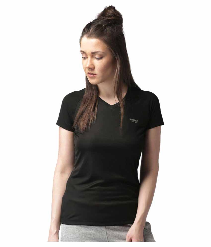 2GO Bold Black V-neck Half Sleeves T-shirt