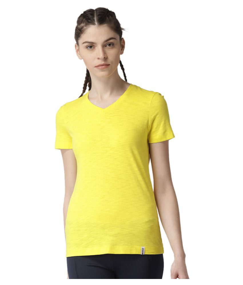 2GO Spring Yellow V-neck Half sleeves T-shirt