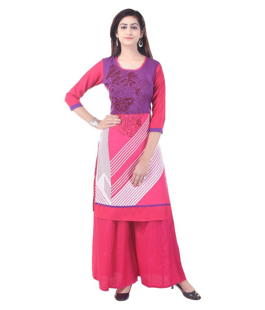 Rangabati Multicoloured Cotton Straight Stitched Suit