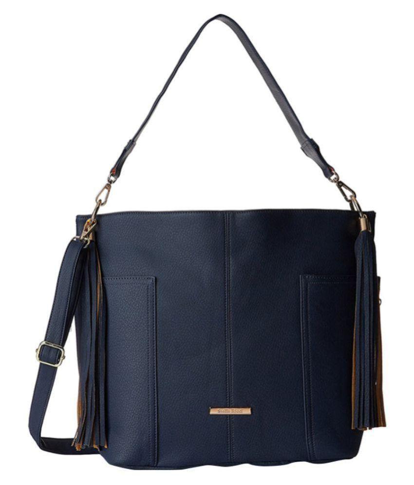 Stella Ricci Navy Blue P.U. Shoulder Bag