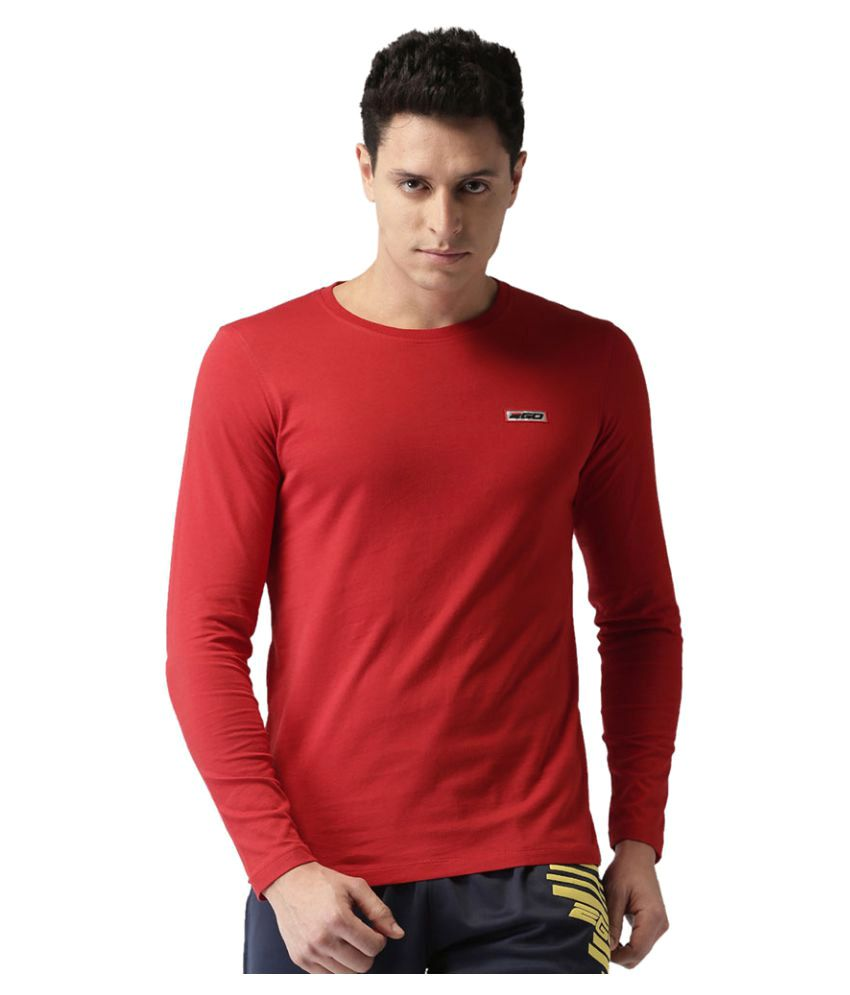 2GO Cardio Red Full sleeves Round Neck T-shirt